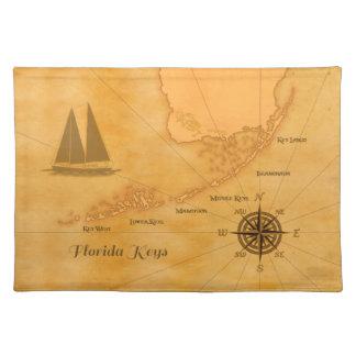 Mapa náutico de las llaves de la Florida del vinta Manteles Individuales
