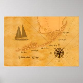 Mapa náutico de las llaves de la Florida del vinta Póster