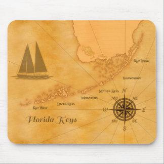 Mapa náutico de las llaves de la Florida del vinta Alfombrilla De Raton