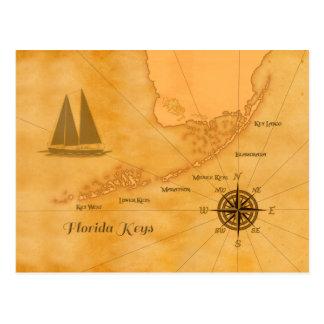 Mapa náutico de las llaves de la Florida del vinta Postal