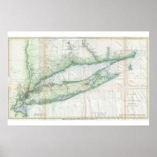 Mapa náutico de Long Island Póster