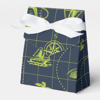 Mapa náutico del azul y de la verde lima caja para regalos