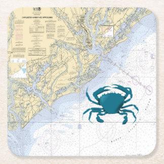 mapa náutico del vintage del puerto de Charleston Posavasos De Cartón Cuadrado