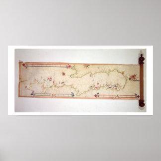 Mapa náutico miniatura del Adriático, 1624 (parc Posters