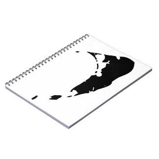 Mapa negro clásico de Nantucket Notebook