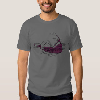 Mapa, negro y púrpura de Nantucket del vintage Polera