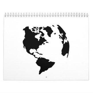 Mapa norte-sur de América del globo Calendarios