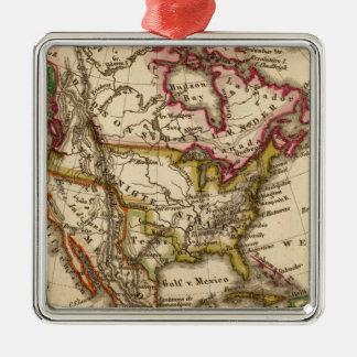 Mapa norteamericano 2 adorno navideño cuadrado de metal