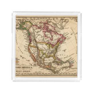 Mapa norteamericano 2 bandeja cuadrada