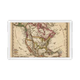 Mapa norteamericano 2 bandeja rectangular
