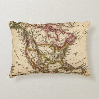 Mapa norteamericano 2 cojín decorativo