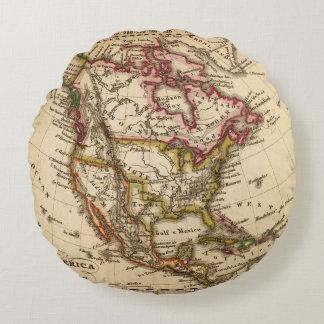 Mapa norteamericano 2 cojín redondo