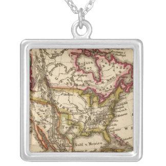 Mapa norteamericano 2 colgante cuadrado