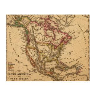 Mapa norteamericano 2 cuadros de madera