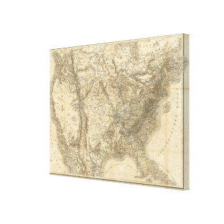 Mapa norteamericano 2 impresiones en lienzo estiradas
