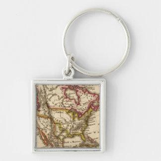 Mapa norteamericano 2 llavero cuadrado plateado