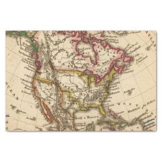 Mapa norteamericano 2 papel de seda pequeño