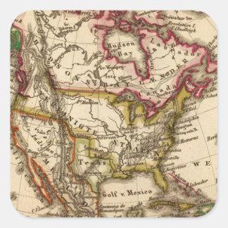 Mapa norteamericano 2 pegatina cuadrada