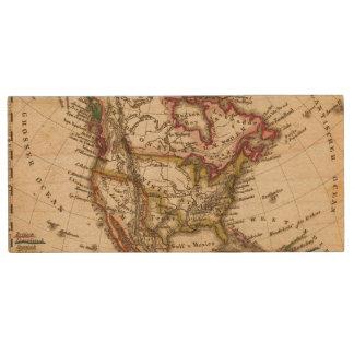 Mapa norteamericano 2 pen drive de madera USB 2.0