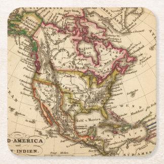 Mapa norteamericano 2 posavasos de cartón cuadrado