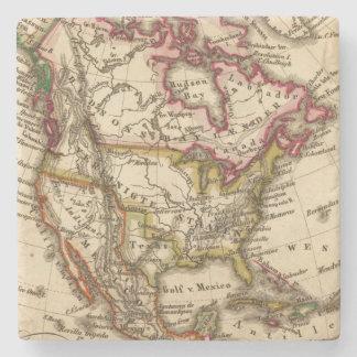 Mapa norteamericano 2 posavasos de piedra