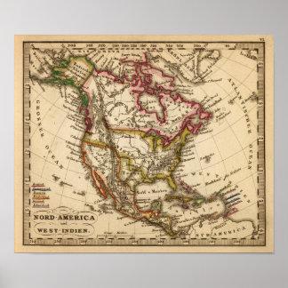 Mapa norteamericano 2 póster