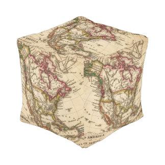 Mapa norteamericano 2 pouf cuadrado