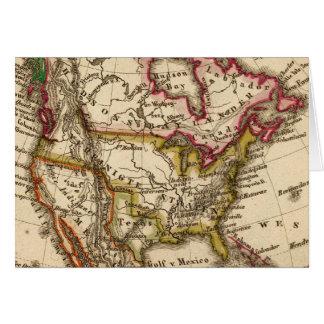 Mapa norteamericano 2 tarjeta de felicitación