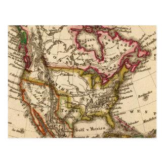 Mapa norteamericano 2 tarjeta postal