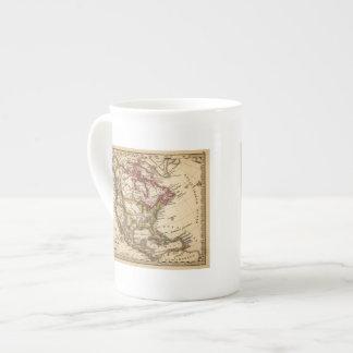 Mapa norteamericano 2 taza de porcelana