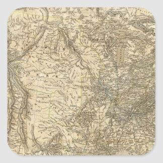 Mapa norteamericano pegatina cuadrada
