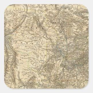 Mapa norteamericano pegatina cuadradas personalizadas