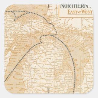 Mapa Northern Steamship Company Calcomanias Cuadradas