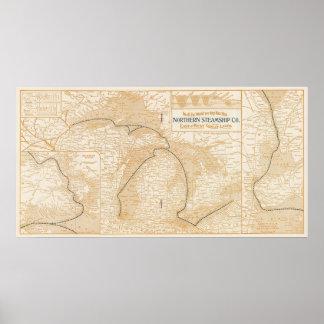 Mapa Northern Steamship Company Póster