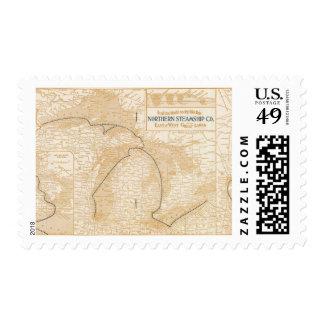 Mapa Northern Steamship Company Sello Postal