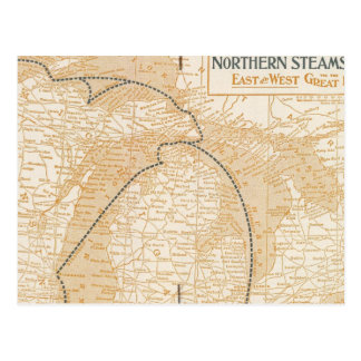 Mapa Northern Steamship Company Tarjetas Postales