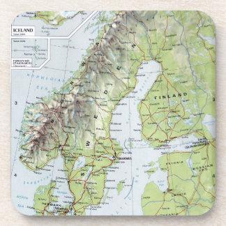 Mapa Noruega Suecia Finlandia Países Bajos del Posavasos