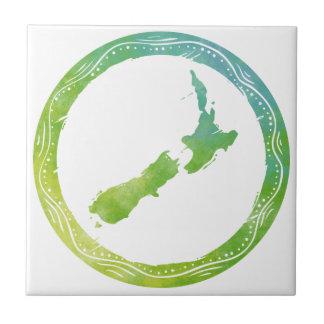 Mapa Nueva Zelanda Azulejo Cuadrado Pequeño