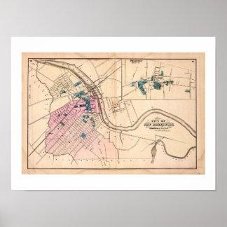 Mapa Nuevo Brunswick, Princeton NJ del vintage de Póster