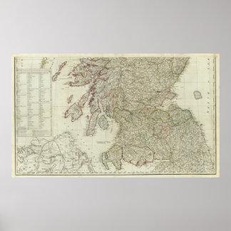 Mapa nuevo y correcto de Escocia Posters
