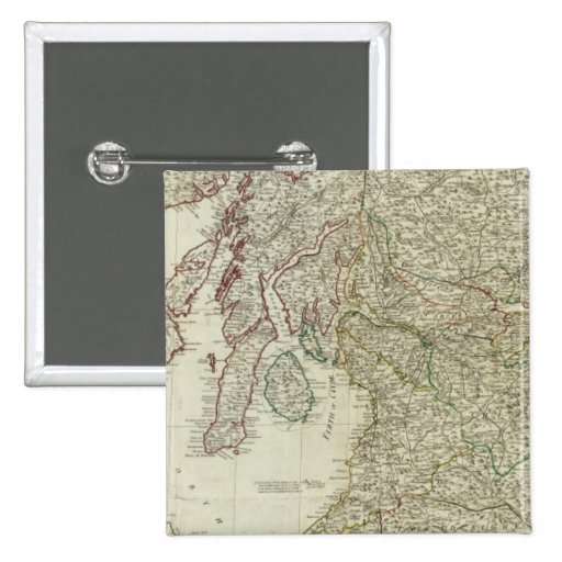 Mapa nuevo y correcto de Escocia Pin Cuadrada 5 Cm