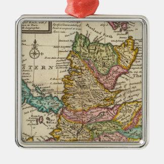 Mapa nuevo y correcto de Escocia y de las islas Adorno Navideño Cuadrado De Metal
