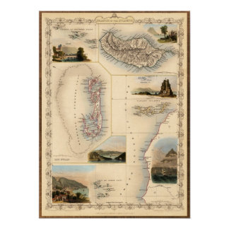 Mapa occidental antiguo de las islas poster