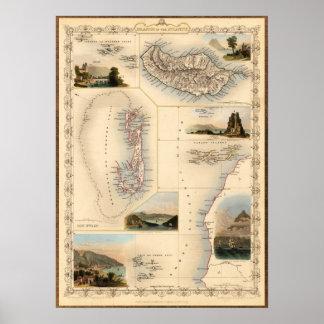 Mapa occidental antiguo de las islas póster