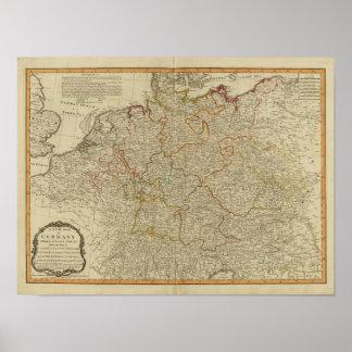 Mapa oclored mano del atlas de Alemania Posters