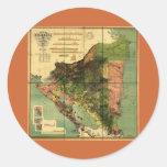 Mapa oficial 1898 de Nicaragua Pegatina Redonda