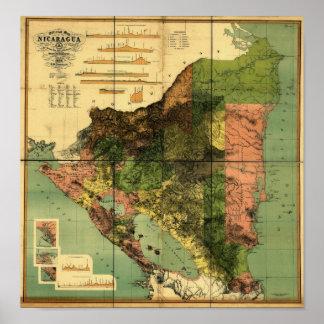 Mapa oficial 1898 de Nicaragua Póster