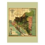 Mapa oficial 1898 de Nicaragua Tarjeta Postal