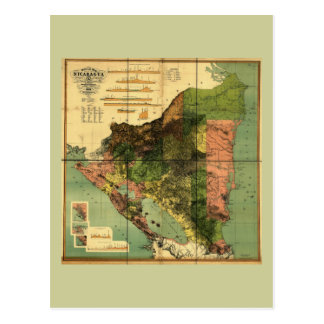 Mapa oficial 1898 de Nicaragua Tarjetas Postales