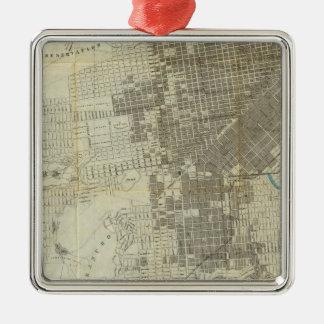 Mapa oficial de la ciudad de San Francisco de Adorno Navideño Cuadrado De Metal